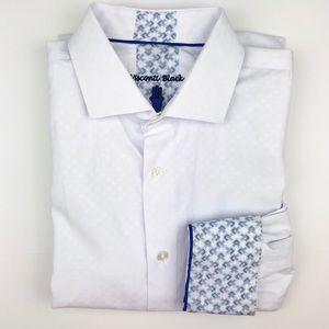 Visconti Black Button Down Shirt Contrast Cuffs XL